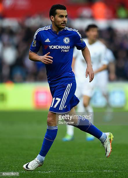 Pedro of Chelsea in action during the Barclays Premier League match between Swansea City and Chelsea at Liberty Stadium on April 9 2016 in Swansea...
