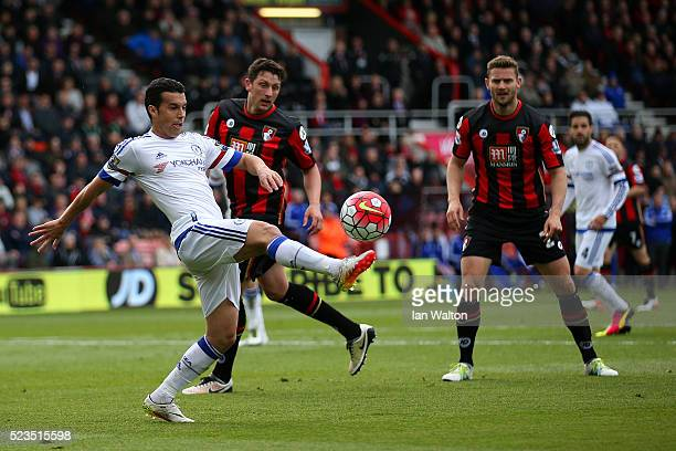 Pedro of Chelsea in action during the Barclays Premier League match between AFC Bournemouth and Chelsea at the Vitality Stadium on April 23 2016 in...