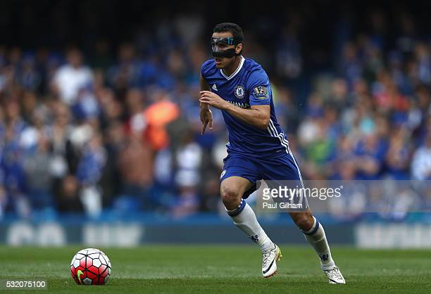 Pedro of Chelsea in action during the Barclays Premier League match between Chelsea and Leicester City at Stamford Bridge on May 15 2016 in London...
