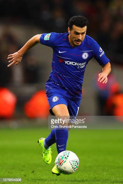 Pedro of Chelsea in action during the Carabao Cup Semi Final First Leg between Tottenham Hotspur and Chelsea at Wembley Stadium on January 08 2019 in...