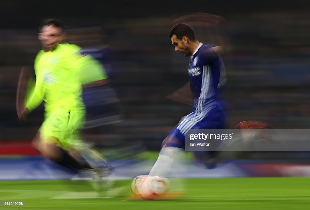 Pedro of Chelsea in action during The Emirates FA Cup Third Round match between Chelsea and Peterborough United at Stamford Bridge on January 8, 2017 in London, England.