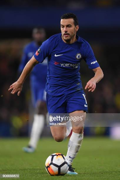 Pedro of Chelsea in action during The Emirates FA Cup Third Round Replay between Chelsea and Norwich City at Stamford Bridge on January 17 2018 in...