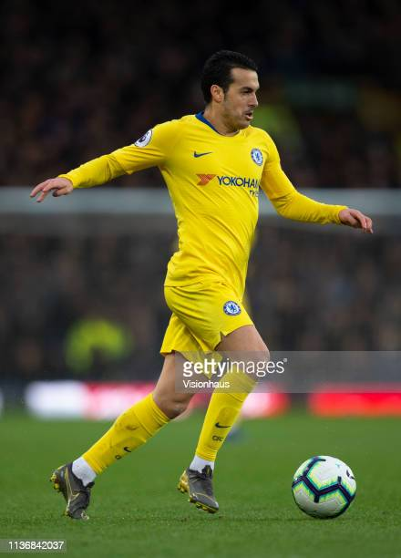 Pedro of Chelsea in action during the Premier League match between Everton FC and Chelsea FC at Goodison Park on March 17 2019 in Liverpool United...