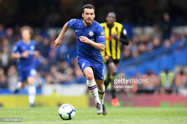 Pedro of Chelsea in action during the Premier League match between Chelsea FC and Watford FC at Stamford Bridge on May 05 2019 in London United...