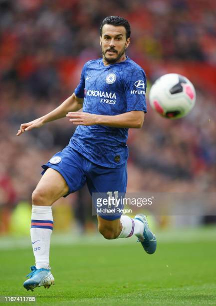 Pedro of Chelsea in action during the Premier League match between Manchester United and Chelsea FC at Old Trafford on August 11 2019 in Manchester...