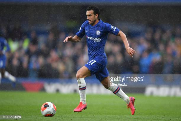 Pedro of Chelsea in action during the Premier League match between Chelsea FC and Everton FC at Stamford Bridge on March 08, 2020 in London, United...