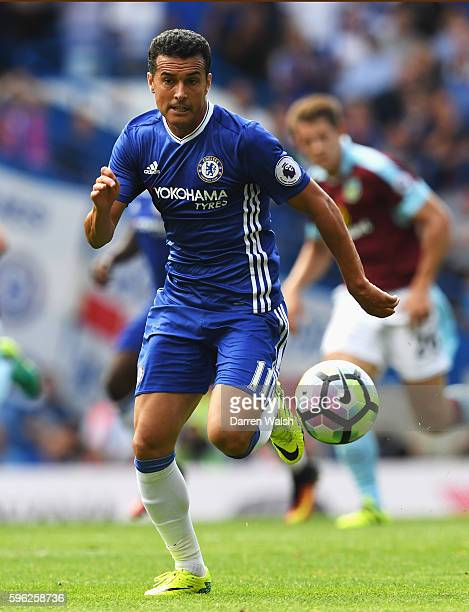 Pedro of Chelsea in action during the Premier League match between Chelsea and Burnley at Stamford Bridge on August 27 2016 in London England