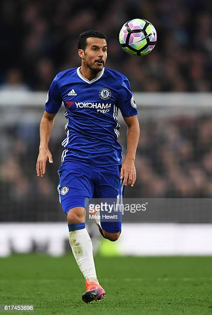 Pedro of Chelsea in action during the Premier League match between Chelsea and Manchester United at Stamford Bridge on October 23 2016 in London...