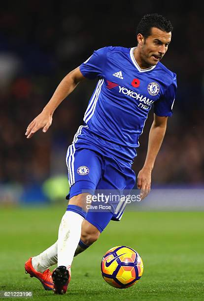 Pedro of Chelsea in action during the Premier League match between Chelsea and Everton at Stamford Bridge on November 5 2016 in London England