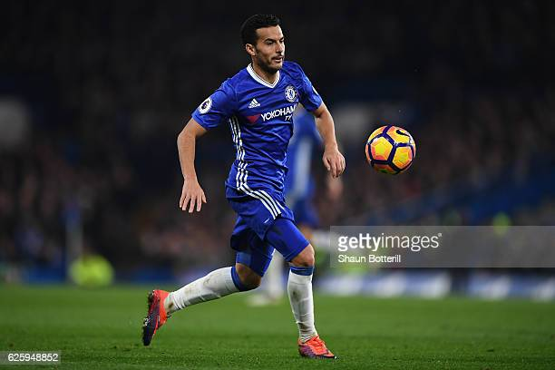 Pedro of Chelsea in action during the Premier League match between Chelsea and Tottenham Hotspur at Stamford Bridge on November 26 2016 in London...