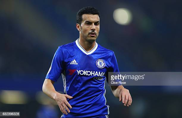Pedro of Chelsea in action during the Premier League match between Chelsea and Hull City at Stamford Bridge on January 22 2017 in London England