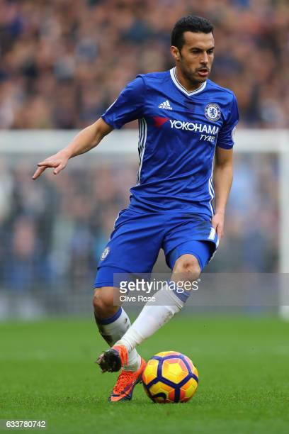 Pedro of Chelsea in action during the Premier League match between Chelsea and Arsenal at Stamford Bridge on February 4 2017 in London England