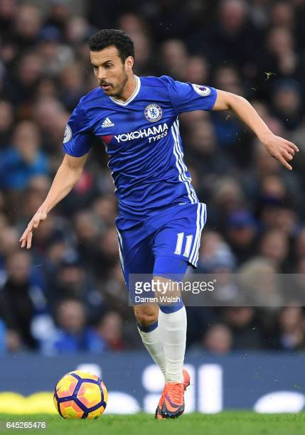 Pedro of Chelsea in action during the Premier League match between Chelsea and Swansea City at Stamford Bridge on February 25 2017 in London England
