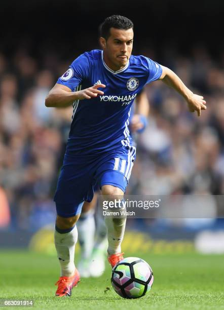 Pedro of Chelsea in action during the Premier League match between Chelsea and Crystal Palace at Stamford Bridge on April 1 2017 in London England