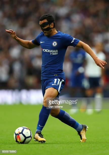 Pedro of Chelsea in action during the Premier League match between Tottenham Hotspur and Chelsea at Wembley Stadium on August 20 2017 in London...