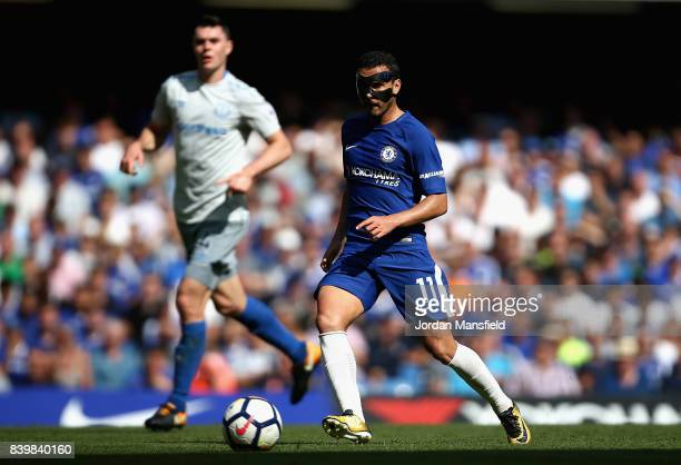 Pedro of Chelsea in action during the Premier League match between Chelsea and Everton at Stamford Bridge on August 27 2017 in London England