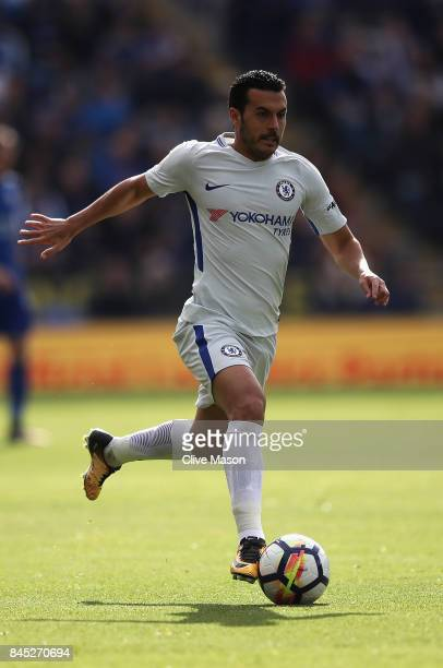 Pedro of Chelsea in action during the Premier League match between Leicester City and Chelsea at The King Power Stadium on September 9 2017 in...