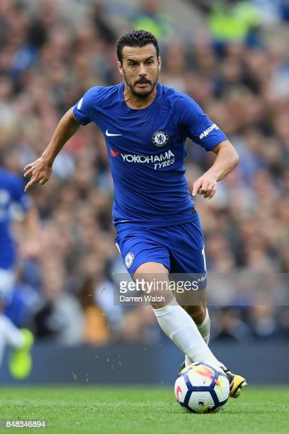 Pedro of Chelsea in action during the Premier League match between Chelsea and Arsenal at Stamford Bridge on September 17 2017 in London England