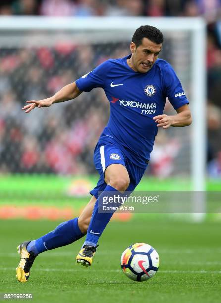 Pedro of Chelsea in action during the Premier League match between Stoke City and Chelsea at Bet365 Stadium on September 23 2017 in Stoke on Trent...