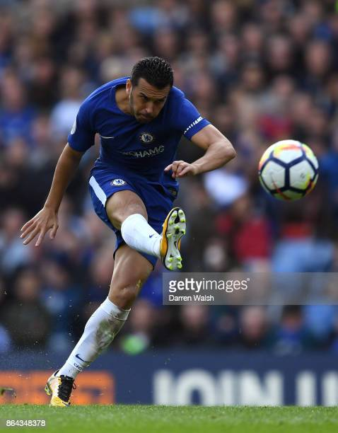 Pedro of Chelsea in action during the Premier League match between Chelsea and Watford at Stamford Bridge on October 21 2017 in London England