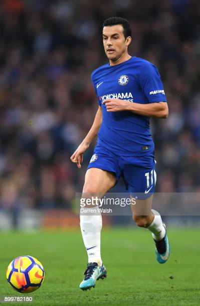 Pedro of Chelsea in action during the Premier League match between Chelsea and Stoke City at Stamford Bridge on December 30 2017 in London England