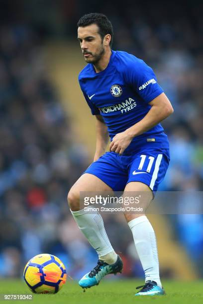 Pedro of Chelsea in action during the Premier League match between Manchester City and Chelsea at the Etihad Stadium on March 4 2018 in Manchester...