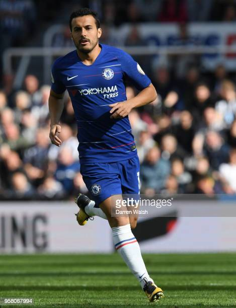 Pedro of Chelsea in action during the Premier League match between Newcastle United and Chelsea at St James Park on May 13 2018 in Newcastle upon...