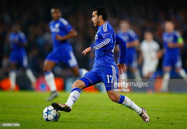 Pedro of Chelsea in action during the UEFA Champions League Group G match between Chelsea FC and FC Porto at Stamford Bridge on December 9 2015 in...