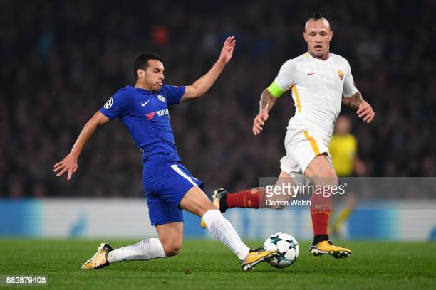 Pedro of Chelsea in action with Radja Nainggolan of AS Roma during the UEFA Champions League group C match between Chelsea FC and AS Roma at Stamford...