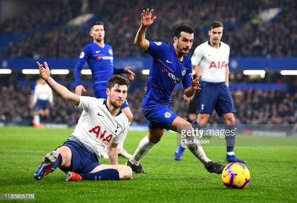 Pedro of Chelsea is challenged by Ben Davies of Tottenham Hotspurduring the Premier League match between Chelsea FC and Tottenham Hotspur at Stamford...