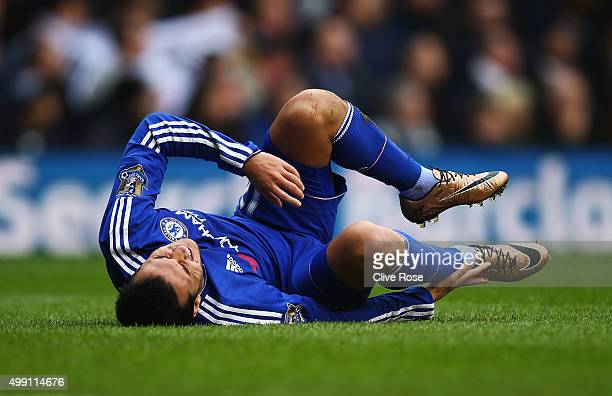 Pedro of Chelsea is injured during the Barclays Premier League match between Tottenham Hotspur and Chelsea at White Hart Lane on November 29 2015 in...