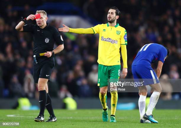 Pedro of Chelsea is shown a red card during The Emirates FA Cup Third Round Replay between Chelsea and Norwich City at Stamford Bridge on January 17...
