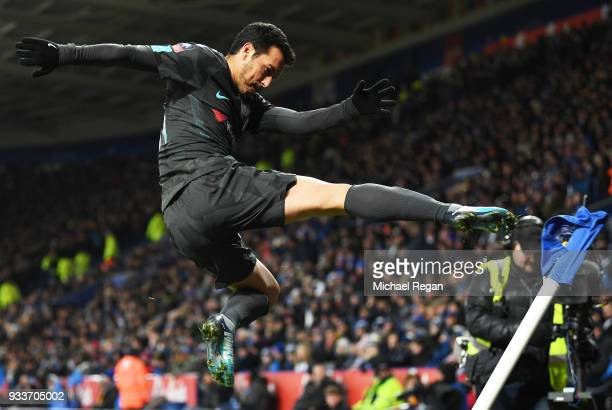 Pedro of Chelsea kicks the corner flag as he celebrates scoring their second goal during The Emirates FA Cup Quarter Final match between Leicester...