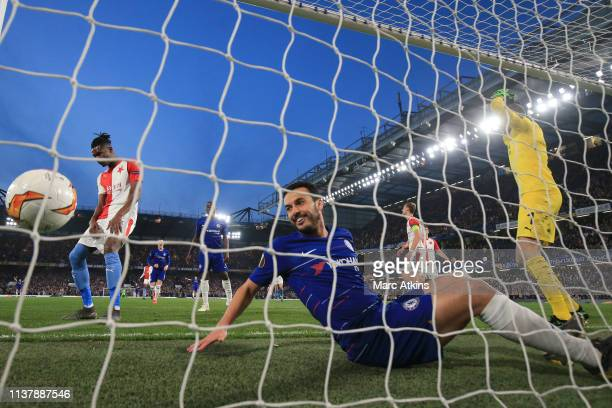 Pedro of Chelsea looks on as Simon Deli of SK Slavia Prague scores an own goal during the UEFA Europa League Quarter Final Second Leg match between...