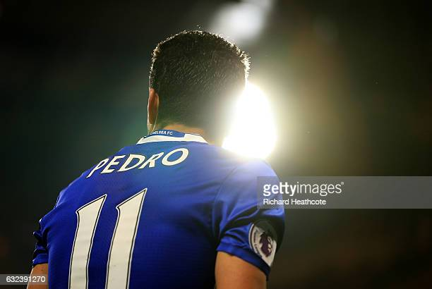 Pedro of Chelsea looks on during the Premier League match between Chelsea and Hull City at Stamford Bridge on January 22 2017 in London England