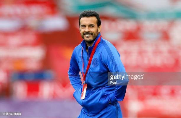 Pedro of Chelsea looks on prior to the Premier League match between Liverpool FC and Chelsea FC at Anfield on July 22, 2020 in Liverpool, England....