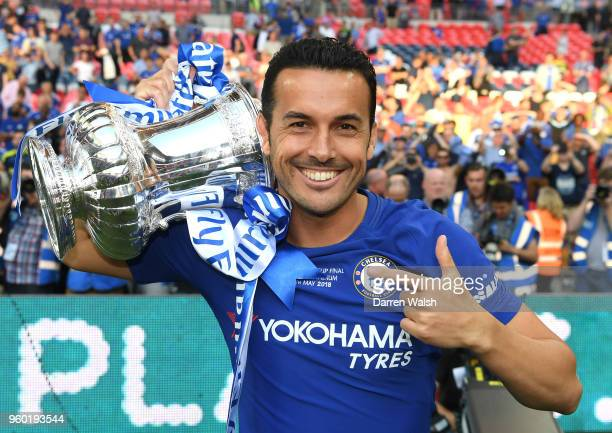Pedro of Chelsea poses with the Emirates FA Cup trophy following his side's victory during The Emirates FA Cup Final between Chelsea and Manchester...