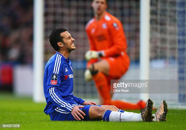 Pedro of Chelsea reacts after a missed chance during the Emirates FA Cup third round match between Chelsea and Scunthorpe United at Stamford Bridge...