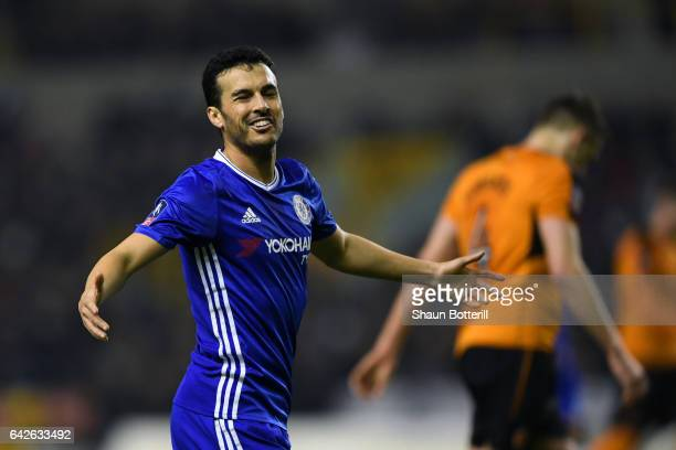 Pedro of Chelsea reacts during The Emirates FA Cup Fifth Round match between Wolverhampton Wanderers and Chelsea at Molineux on February 18 2017 in...