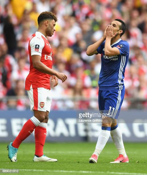Pedro of Chelsea reacts during The Emirates FA Cup Final between Arsenal and Chelsea at Wembley Stadium on May 27 2017 in London England