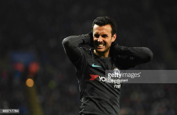 Pedro of Chelsea reacts during The Emirates FA Cup Quarter Final match between Leicester City and Chelsea at The King Power Stadium on March 18 2018...