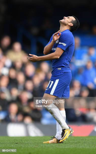 Pedro of Chelsea reacts during the Premier League match between Chelsea and Watford at Stamford Bridge on October 21 2017 in London England
