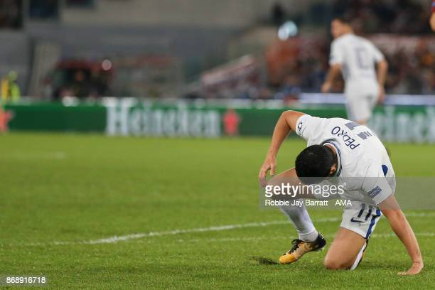 Pedro of Chelsea reacts during the UEFA Champions League group C match between AS Roma and Chelsea FC at Stadio Olimpico on October 31 2017 in Rome...