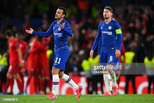 Pedro of Chelsea reacts during the UEFA Champions League round of 16 first leg match between Chelsea FC and FC Bayern Muenchen at Stamford Bridge on...