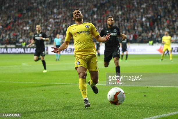 Pedro of Chelsea reacts during the UEFA Europa League Semi Final First Leg match between Eintracht Frankfurt and Chelsea at CommerzbankArena on May...