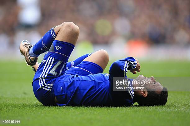 Pedro of Chelsea reacts to an injury during the Barclays Premier League match between Tottenham Hotspur and Chelsea at White Hart Lane on November 29...