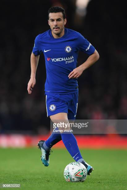 Pedro of Chelsea runs with the bal during the Carabao Cup SemiFinal Second Leg at Emirates Stadium on January 24 2018 in London England