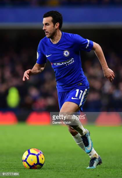 Pedro of Chelsea runs with the ball during the Premier League match between Chelsea and AFC Bournemouth at Stamford Bridge on January 31 2018 in...