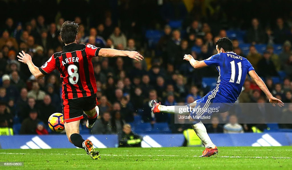 Pedro of Chelsea scores his second and his sides third goal during the Premier League match between Chelsea and AFC Bournemouth at Stamford Bridge on December 26, 2016 in London, England.