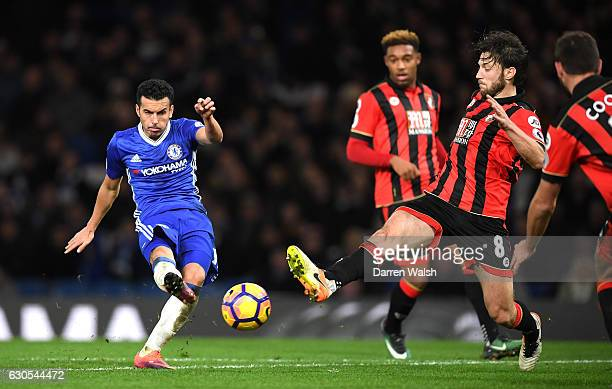 Pedro of Chelsea scores his second and his sides third goal during the Premier League match between Chelsea and AFC Bournemouth at Stamford Bridge on...
